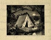 Camping Tent Graphic Digital Image Download Printable Artwork Vintage Clip Art for Transfers Printing etc HQ 300dpi No.4106