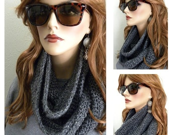 Smoky Gray Infinity Scarf And Slouchy HAT  Hand Crocheted in  Fall Winter Womens Accessories holiday gift ready to ship