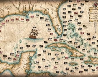 "101 Pirates Art Print, 11"" x 17 or 18"" x 26"" Art Print, Jolly Rogers, Pirate Flag, Pirate Prints, Pirates of the Caribbean, Skulls"