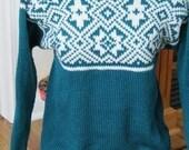 Teal Geometric Design Sweater