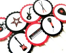 12 Red and Black Rockstar Cupcake Toppers