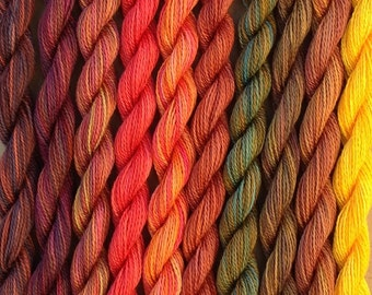 FINE COTTON, Hand Dyed Embroidery Thread, Cotton Thread, Cotton Yarn, Embroidery Floss, 16/2 wt. (Equivalent to Perle 12)