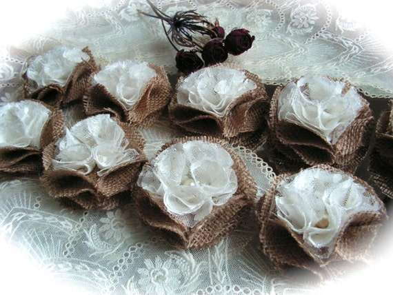 Rustic Shabby Chic Burlap and Lace  Flowers-  Rosettes , ivory color, Wedding Decor Set of 10
