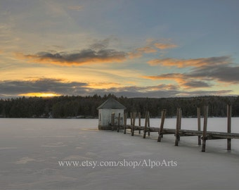 Winter sunset photo, Pier on a frozen lake, Vermont Landscape photo, 13x19 inch nature photograph, 18x24 inch photo mats in black or white