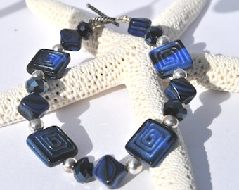 Intricate square carved deep blue Czech glass and cystal bracelet with coordinating earrings