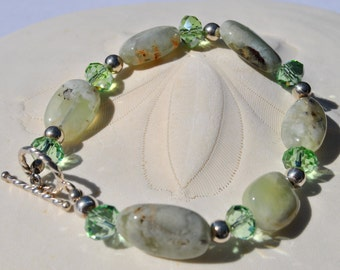 Green Prehnite stone Bracelet with sterling silver beads and crystals