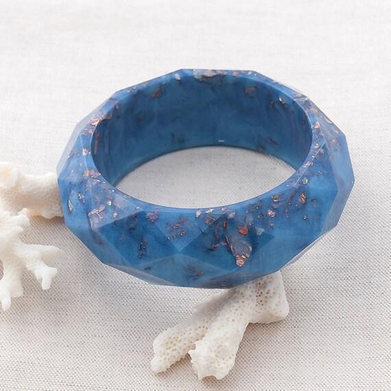 Mykonos Blue Eco Resin Diamond Pattern Bangle Bracelet Large/XLarge Size Leaf Flakes