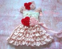 Pink Heart Chevron Lace Dress,Valentines dress, Pink Dress,baby dress, Birthday outfit,girls dress,baby girls dress, Easter, Valentine's