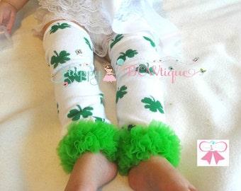 St Patricks leg warmers, St Pattys leg warmers, Green Clover leg warmers, St Patricks