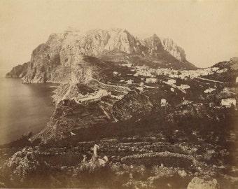Capri Italy panorama woman on cliff antique albumen art photo