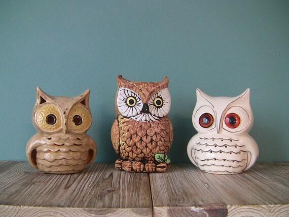 Set Of 3 Vintage Ceramic Owls Owl Theme Owl Candle Holders Owl
