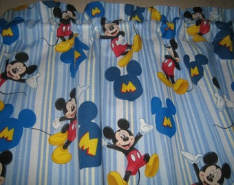 """Mickey Mouse Curtain Valance 41"""" x 15"""" in 100% Cotton - Handmade New."""