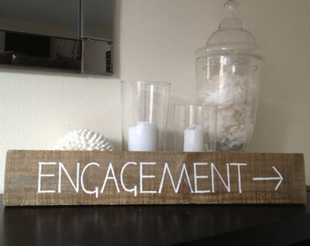 Engagement Party  Vintage Timber Wooden Sign 'Engagement'