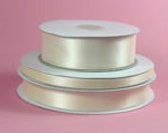 """ivory double faced satin ribbon 5/8"""" wide 100 yds"""