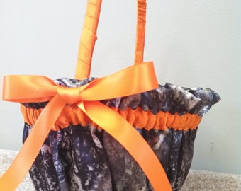 camo flower girl basket. orange and camoflage