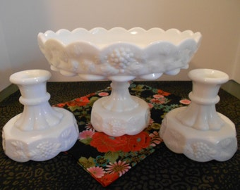 Westmoreland Milk Glass Centerpiece Set- Pedestal Compote w/ Matching Candle Holder Set in Grape & Vine Pattern, DESSERT SET