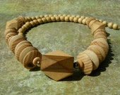 Vintage Natural Wood Chunky Two Tone Necklace