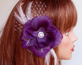 Wedding Accessory Purple Hair Clip Bridal accessory Hair Flower Clip Pearl Feathers Vail