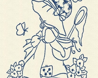 Sunbonnet Catching Butterflies Machine Embroidery Design
