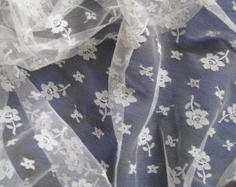 White Lace Fabric Sheer White Beautiful 1 Yard Remnant