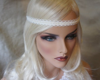 Ivory/Cream/ White  Lace And Pearls Headband , Bohemian , Halo , Bride Lace Headband,  Wedding Piece, Bridesmaides Made Of Honer Piece ,