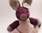 Dahlia the Hand Knit Purple Bunny Rabbit Stuffed Animal with Lace Dress and Flower Headband