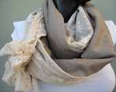 Haute Couture Beige linen Scarf with Lace bow, Turkish Designer Scarf, Infinity Women's Scarves by Bella Turka, Europeanstreetteam,