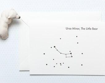 Ursa Minor - The Little Bear - Letterpress Greetings card