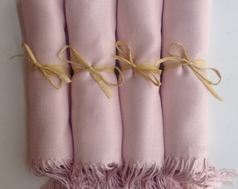 Baby Pink Shawls with Raffia Ribbon, Set of 5, Pashmina, Scarf, Wedding Favor, Bridal Shower Gift, Bridesmaid Gift, Wraps, Welcome Bags