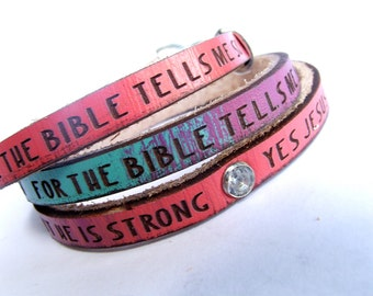 CHILD'S Jesus Loves Me... Daily Reminder Leather wrap bracelet