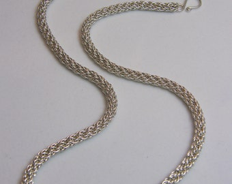 Sterling Silver Candy Cane Cord Chain Maille Necklace