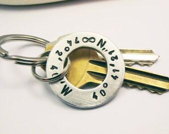 Personalized Aluminum Washer, Coordinates Keychain Hand stamped Names Dates Initials Coordinates Anniversary Men Boyfriend Groomsmen Gift