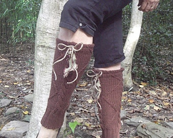 Upcycled, Recycled, Refashioned, Repurposed Leg Warmers Brown