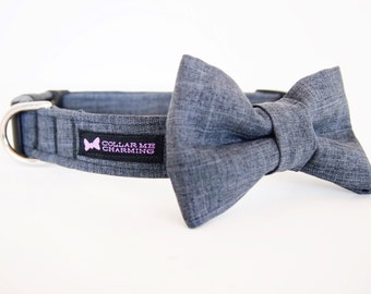 Gray Dog Collar Bow Tie Set Gatsby