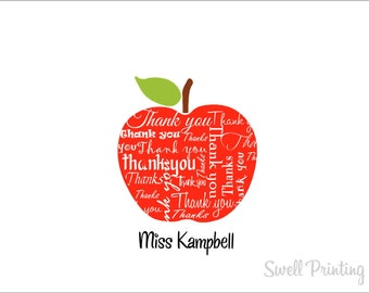 10 Personalized Apple Thank you Notecards Apple note cards 1