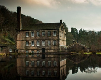 Industrial Revolution, English Textile Mill, Historical Landscape Photography, 12 x 12 inch Fine Art Print.