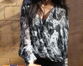 Grey Floral silk low-high Tunic