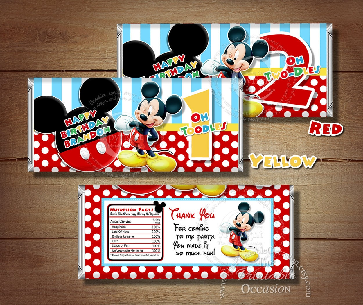 any age printable mickey mouse birthday candy bar wrapper red