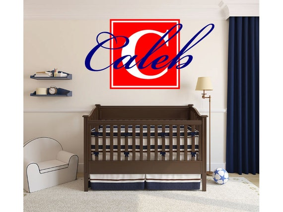 Name Monogram Wall Decal Boys Block Letter Nursery By