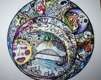 CUSTOM Motif Artwork with Color Accents (12x12 Total surface - Circle area approx 11 inch in diameter)