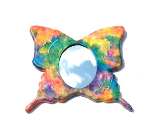 Decorative wall mirror Psychedelic hand made butterfly oval mirror