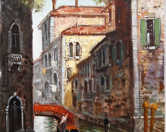 Lovely Vintage Painting of Venice with Gondoliers