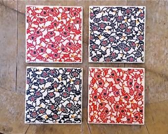funky florals ceramic tile coaster set