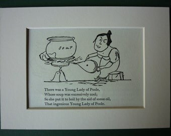 1950 Vintage Edward Lear Print - Vintage Print - Victorian Print - Nonsense - Black & White - Limerick - Poetry - Poem - Poole - Soup