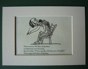 1950 Vintage Edward Lear Print - Vintage Print - Victorian Print - Nonsense - Black & White - Limerick - Poetry - Poem - Beetle - Quebec