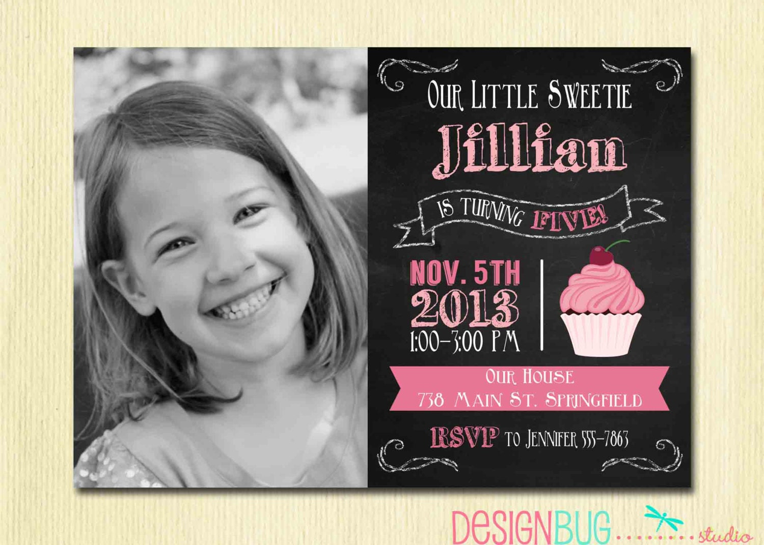 Chalkboard Cupcake Invitation 1 2 3 4 year old 1st – 2 Year Old Birthday Invites