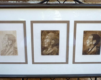 Original Framed Set of 3 Ink Drawings Of Geronimo By Listed Artist Lunda Hoyle Gill