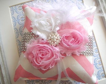 Shabby Chic Ring Pillow In Pink, Weddings, Ring Bearer Pillow, Bride, Ring Pillow, Pink Chevron Ring Pillow