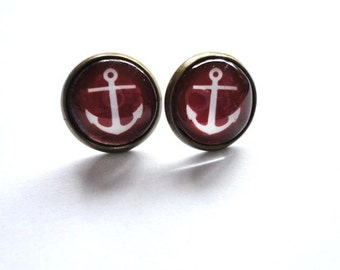 Earrings Anchor red