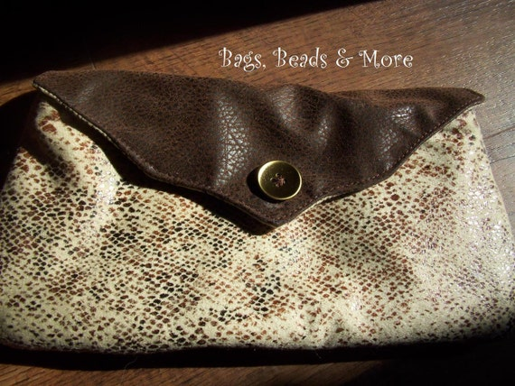 Snakeskin Clutch with Brown Faux Leather Flap